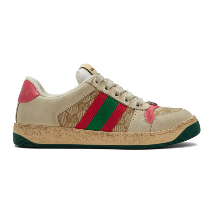 Gucci White and Pink GG Screener Sneakers