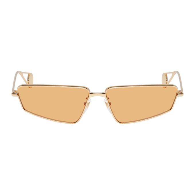 GUCCI | Gucci Gold And Orange Rectangular Sunglasses | Goxip