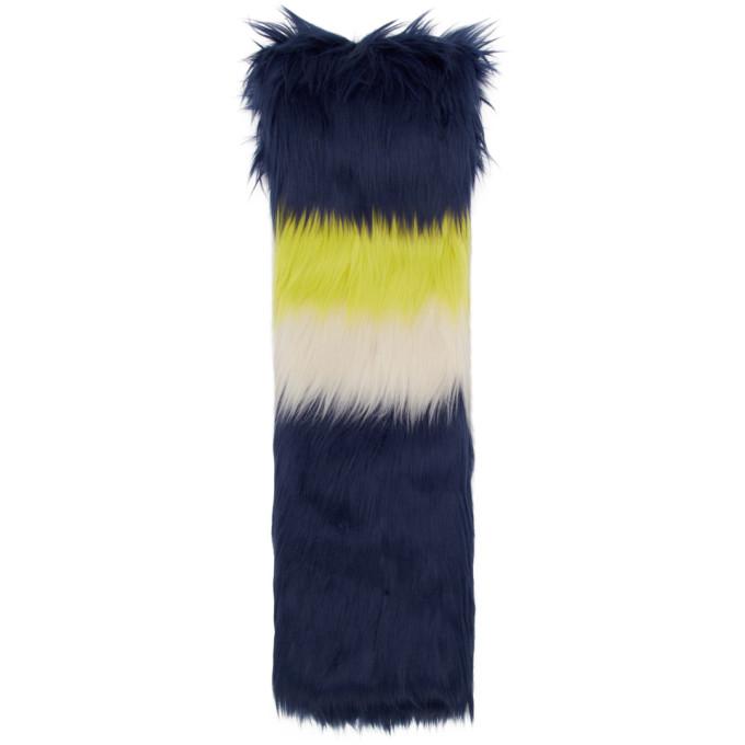 Gucci Foulard en fourrure synthetique bleu marine et multicolore