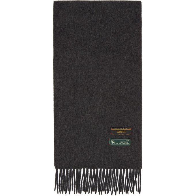 Gucci Grey Wool and Cashmere Scarf