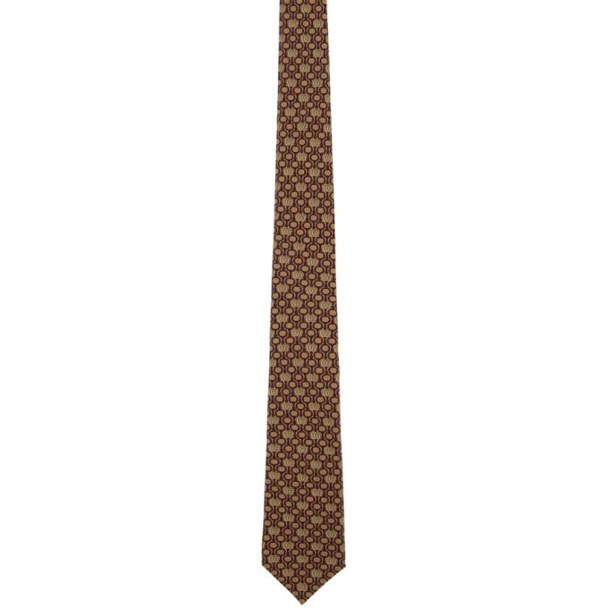 Gucci Cravate en soie brune et bourgogne GG Horsebit Chain