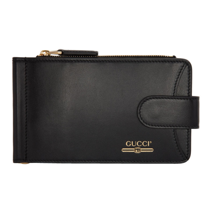 Gucci Black Money Clip Bifold Wallet