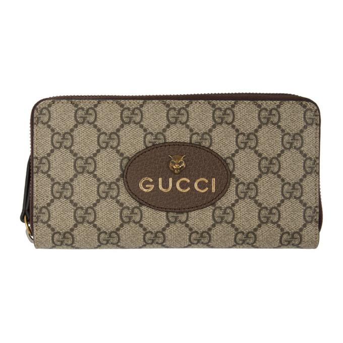 Gucci ベージュ GG スプリーム タイガー ジップアラウンド ウォレット