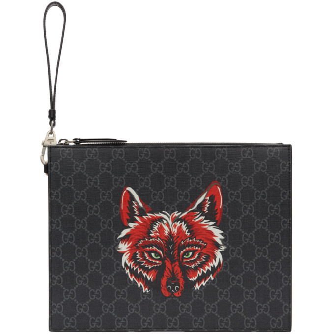 Gucci Black Gg Supreme Wolf Pouch in 9789 Black