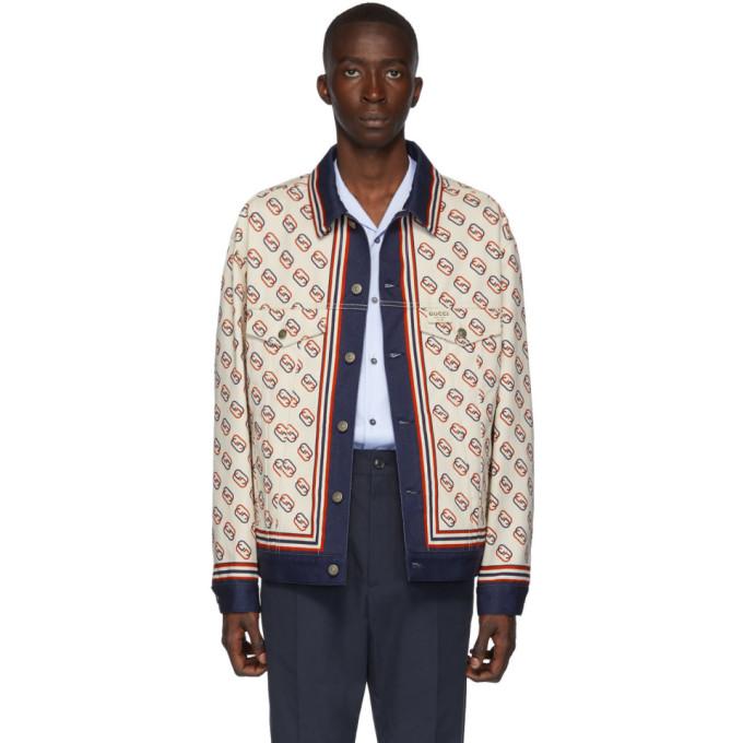 Gucci ホワイト デニム オーバーサイズ GG プリント ジャケット
