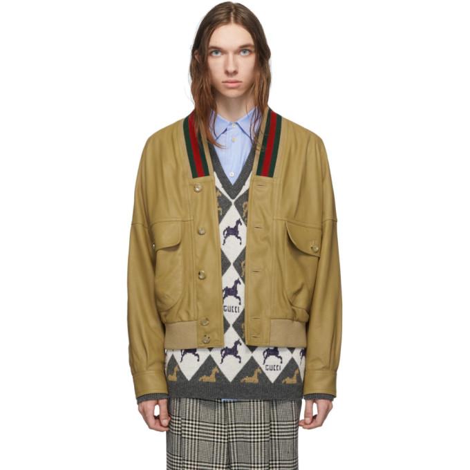 Gucci Tan Leather Jacket