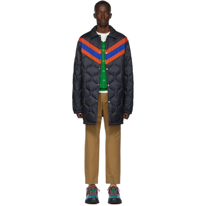 Gucci Navy Striped Lightweight Gardens Coat