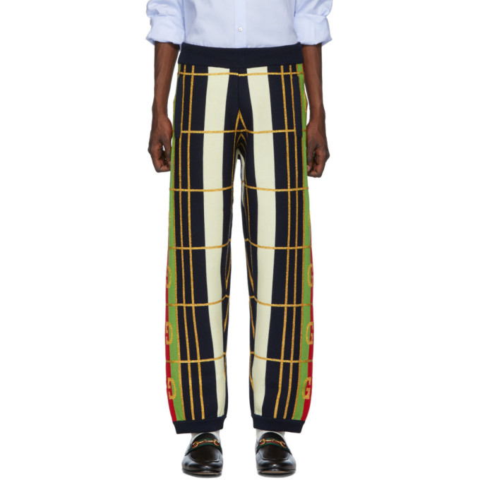 Gucci Pants GUCCI BLUE WOOL JACQUARD LOUNGE PANTS