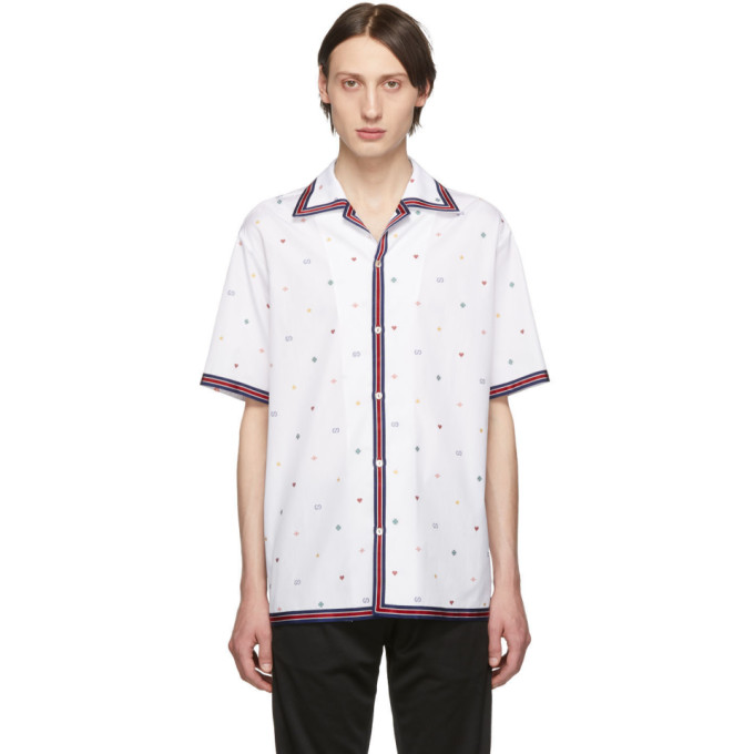 GUCCI | Gucci White Fil Coupe Multi Symbol Bowling Shirt | Goxip