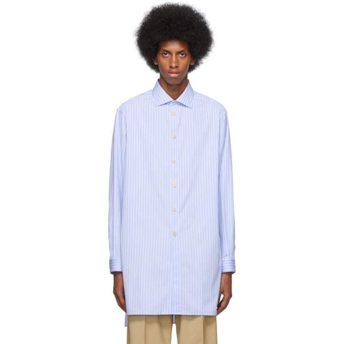 Gucci Chemise rayee bleue et blanche Large Classic