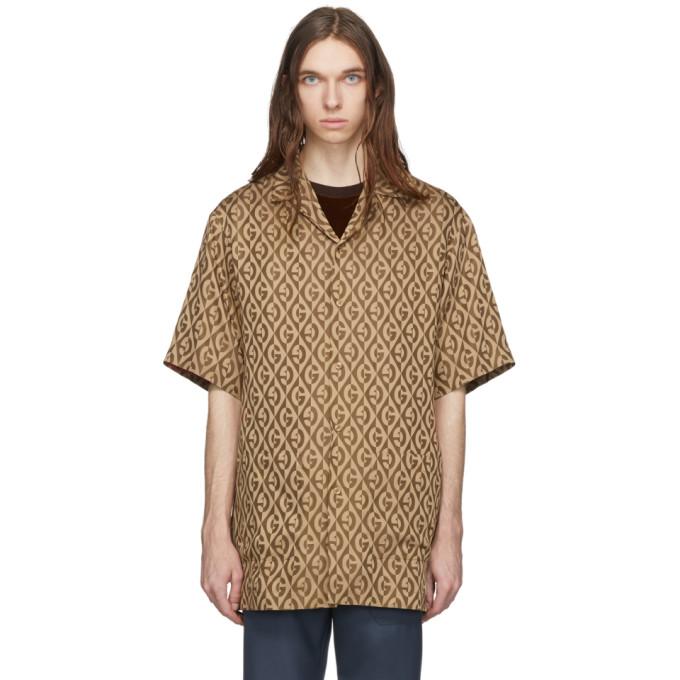 Gucci ブラウン G ランバス シャツ