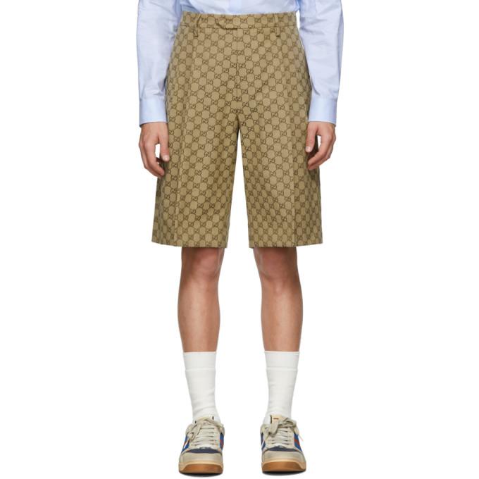 Gucci Shorts GUCCI BEIGE CANVAS GG BERMUDA SHORTS