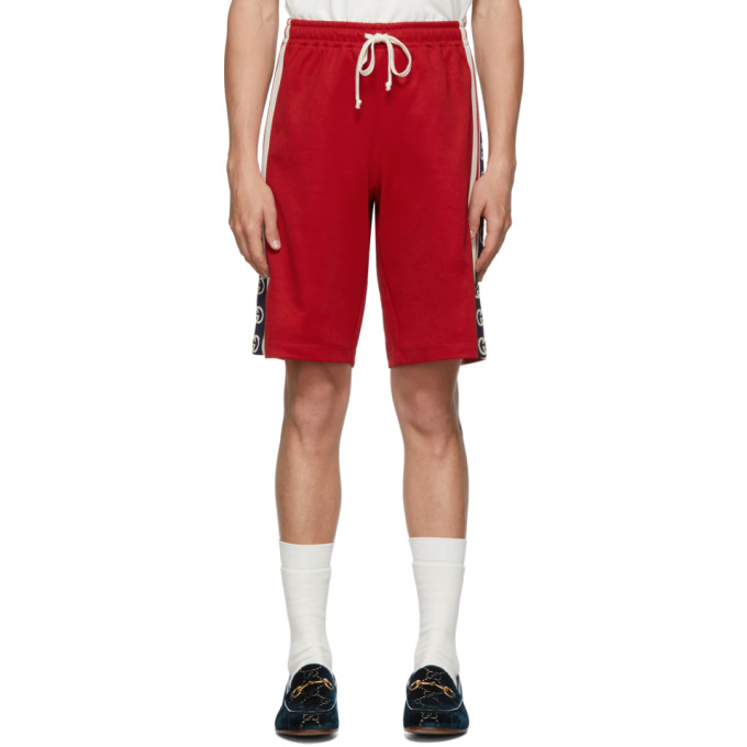 Gucci Red Jersey GG Ribbon Shorts