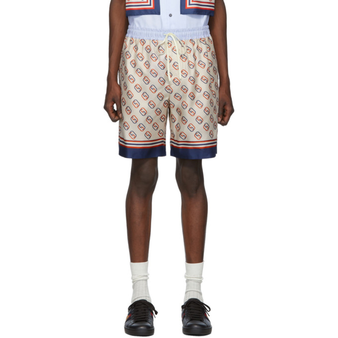 Gucci Shorts GUCCI OFF-WHITE SILK GG SHORTS