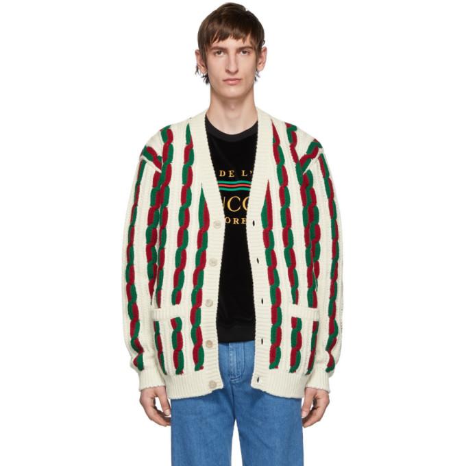 Gucci オフホワイト and レッド ウール カーディガン
