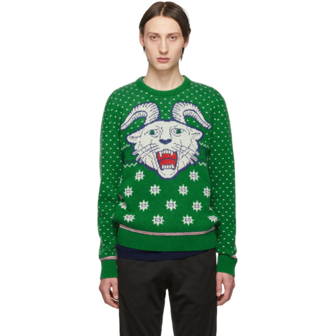 GUCCI | Gucci Green Wool Jacquard Sweater | Goxip