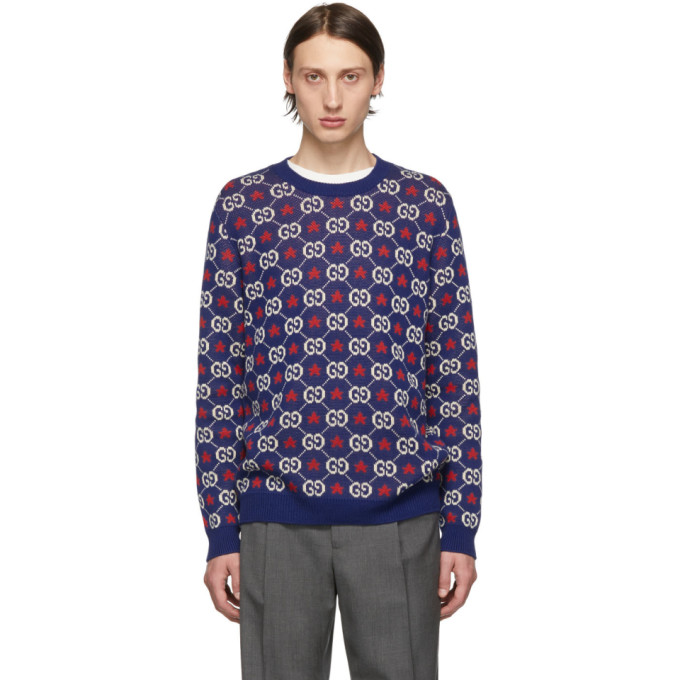 Gucci ブルー GG クルーネック セーター