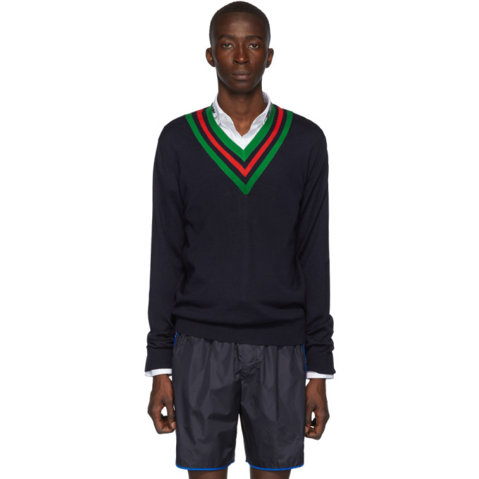 Gucci Sweaters GUCCI NAVY WOOL WEB V-NECK SWEATER