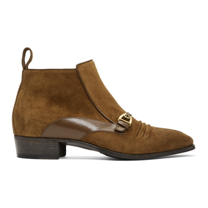 Gucci Brown Suede Ankle Boots