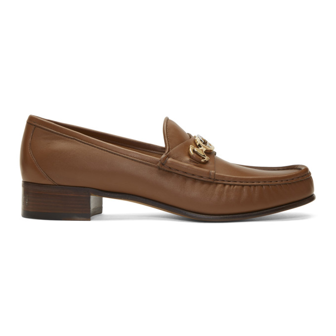 Gucci Brown Interlocking G Horsebit Loafers
