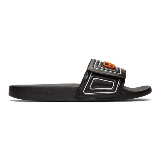 Gucci Men's New Pursuit Slide Sandals In Black