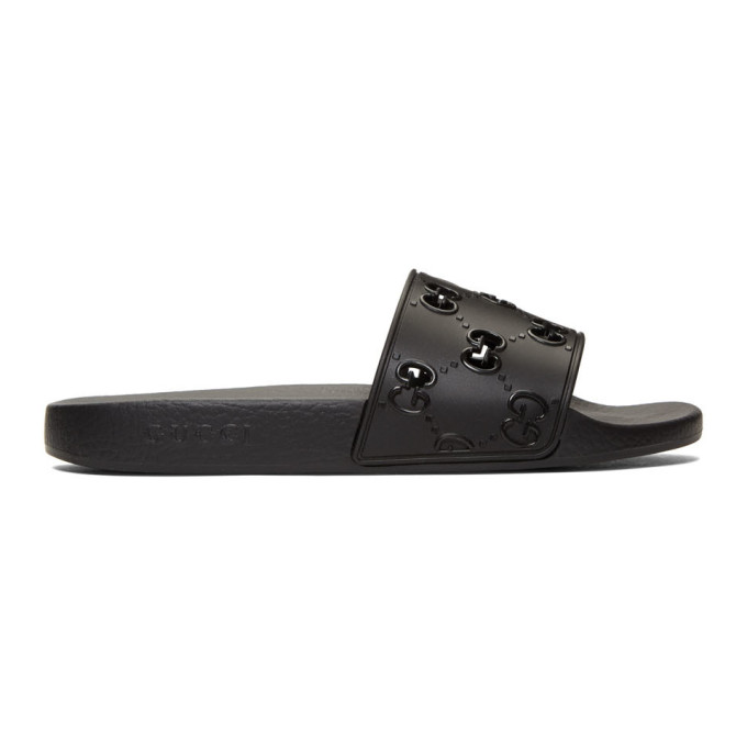 Gucci Supreme Black Cut-Out Rubber Sliders In 1000 Black