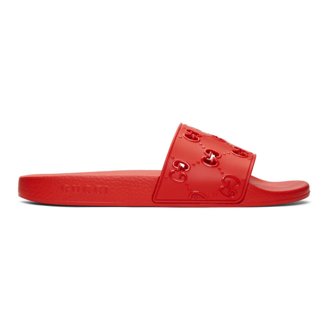 Gucci Gg Cut-Out Rubber Slides In Red In 6448 Lthibr