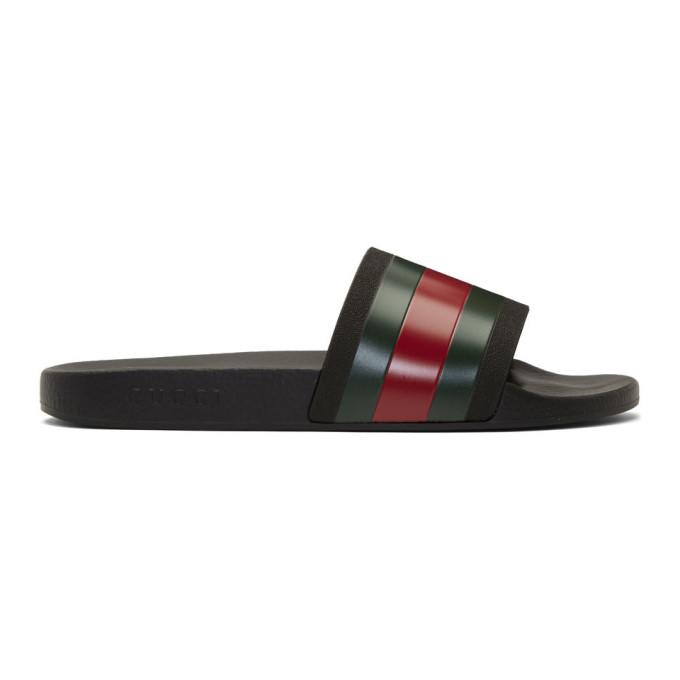 Gucci Pursuit '72 Rubber Slide Sandals In 1098 Black