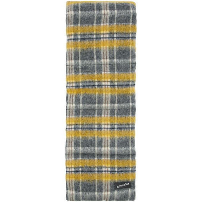 Nanamica Foulard en duvet et laine a carreaux jaune Muffler