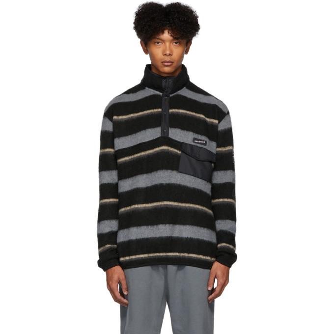 Nanamica Pull en laine noir et gris