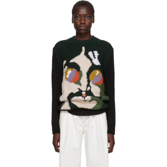 Stella McCartney Green and Black The Beatles Edition Virgin Wool John Lennon Sweater