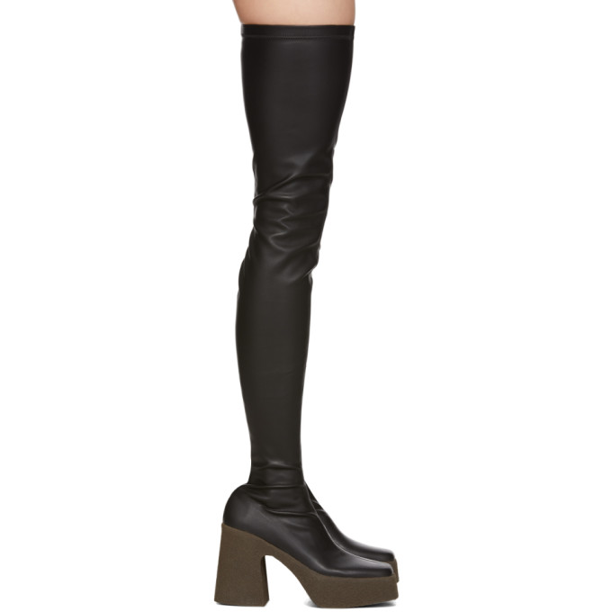 Stella McCartney Black Chunky Heel Tall Boots