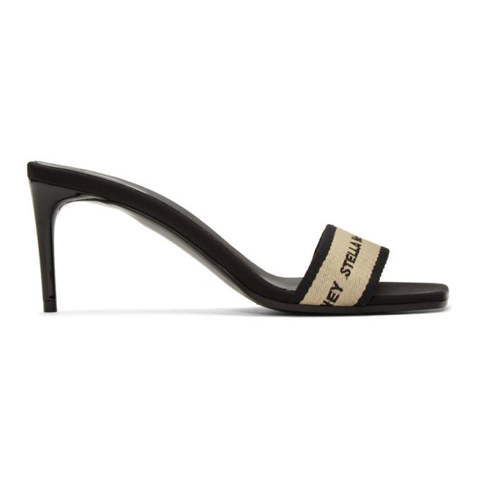 Stella McCartney Black and Beige Logo Sandals
