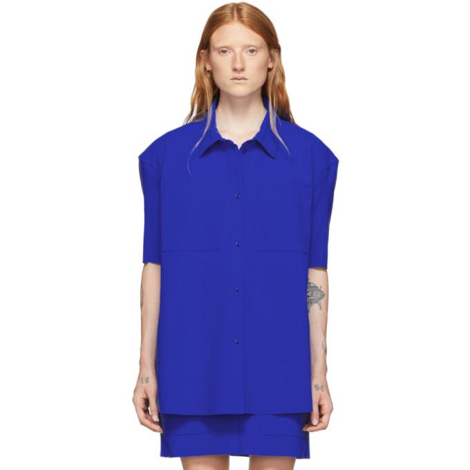Nina Ricci Chemise a manches courtes en jersey contrecolle bleue