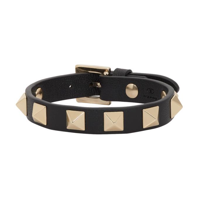 VALENTINO   Valentino Black Valentino Garavani Rockstud Bracelet   Goxip
