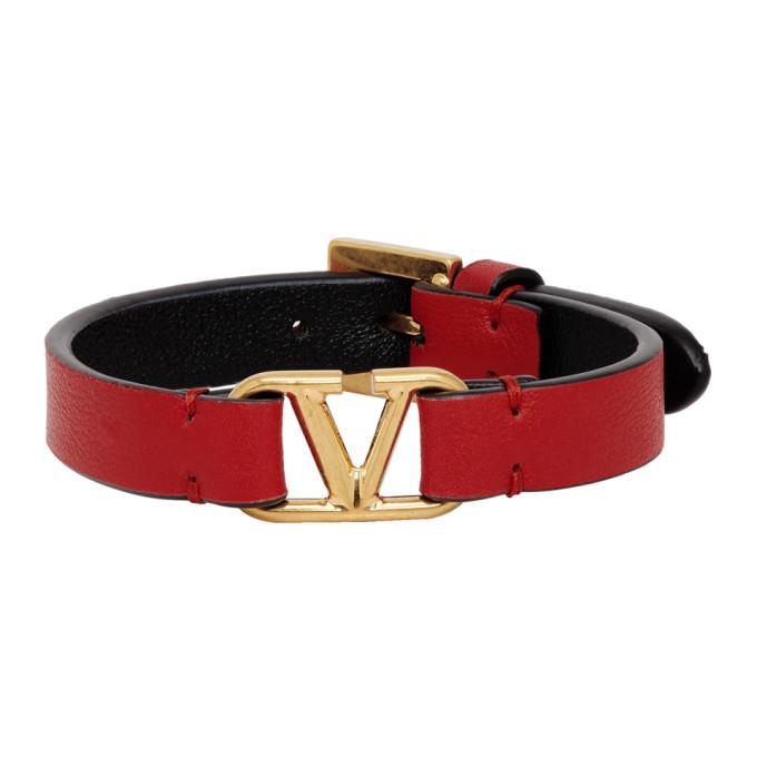 VALENTINO   Valentino Red And Black Valentino Garavani VLogo Bracelet   Goxip