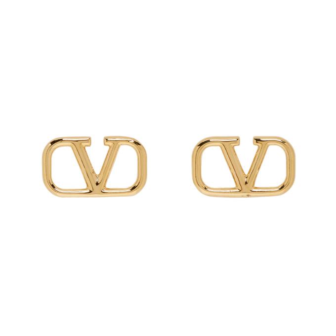 VALENTINO | Valentino Gold Valentino Garavani VLogo Loop Earrings | Goxip