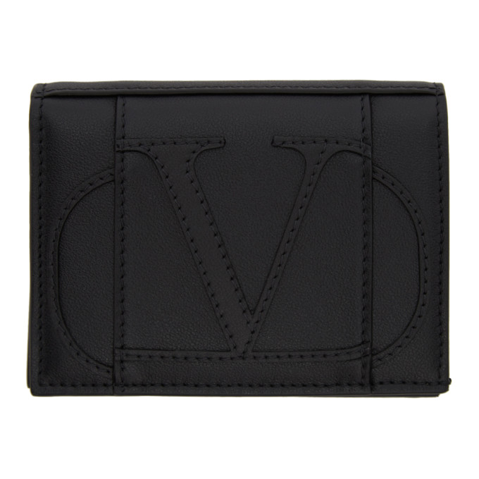 Valentino Valentino Garavani コレクション ブラックスモール Vロゴ バイフォールド ウォレット