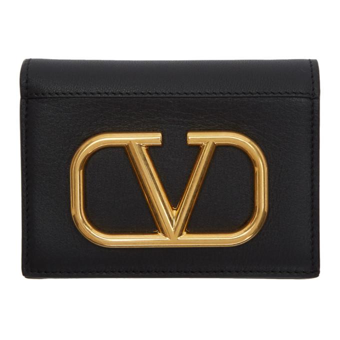Valentino Valentino Garavani コレクション ブラック VLogo フレンチ ウォレット