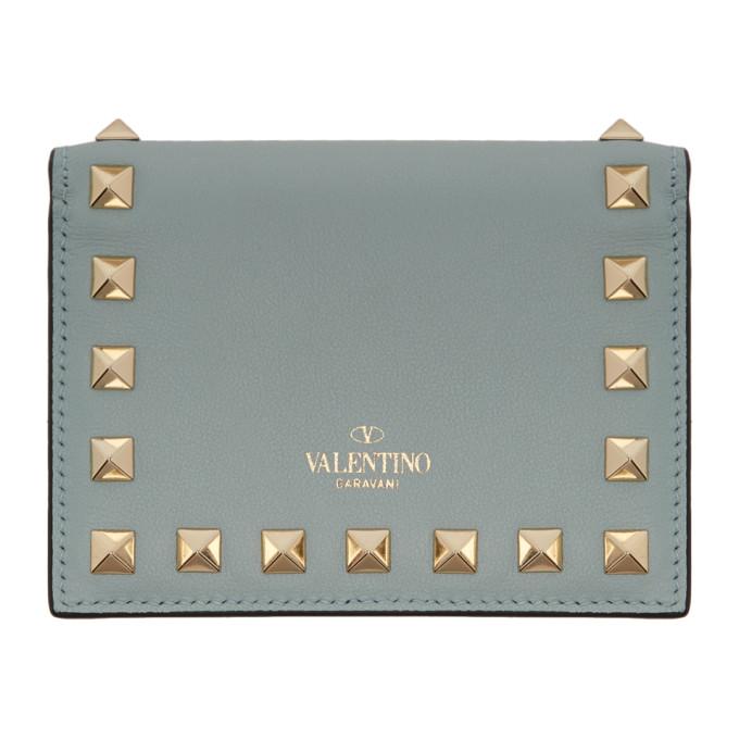 Valentino Valentino Garavani コレクション ブルー スモール ロックスタッズ ウォレット