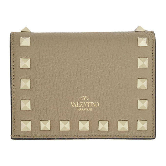 Valentino Valentino Garavani コレクション タン スモール ロックスタッズ ウォレット