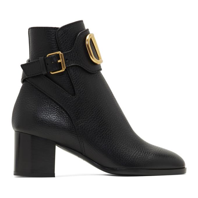 Valentino Black Valentino Garavani VLogo Ankle Boots