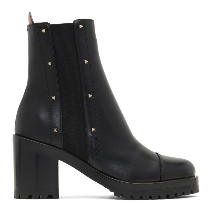 Valentino Black Valentino Garavani Rockstud Rogue Boots