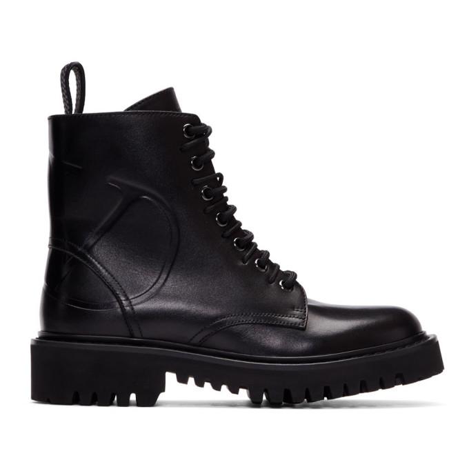 Valentino Black Valentino Garavani VLogo Combat Boots