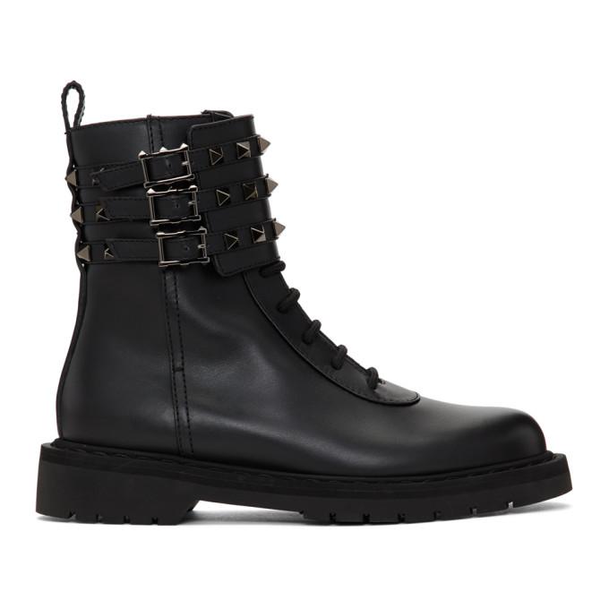Buy Valentino Black Valentino Garavani Rockstud Combat Boots online