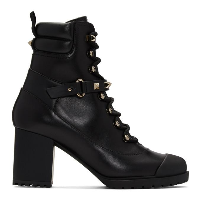 Valentino Black Valentino Garavani Rockstud Heeled Combat Boots