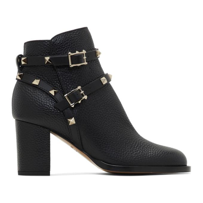 Valentino Black Valentino Garavani Rockstud Grain Block Heel Boots