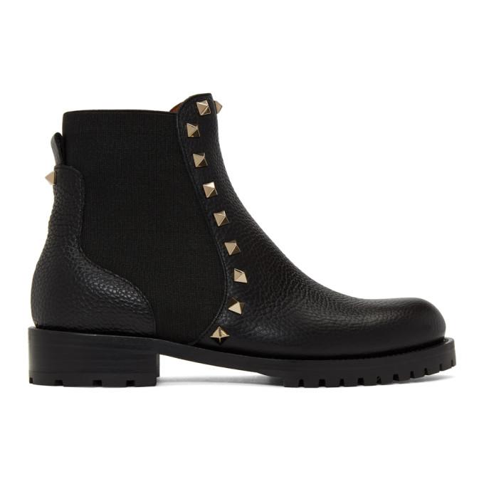Valentino Black Valentino Garavani Rockstud Beatle Boots