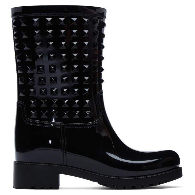 Valentino Black Valentino Garavani Tonal Rockstud Rain Boots