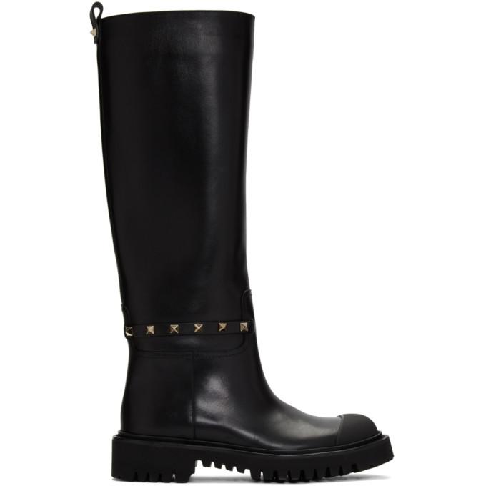 Valentino Black Valentino Garavani Rockstud Tall Boots